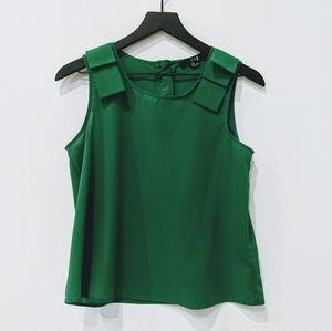 Green tank with bow shoulder straps